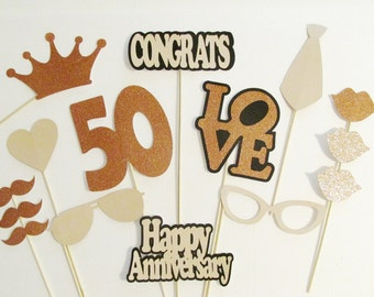 photo booth props 50th anniversary party decorations 15pc set lots of glitter wedding anniversary decorations - 50th Wedding Anniversary Decorations