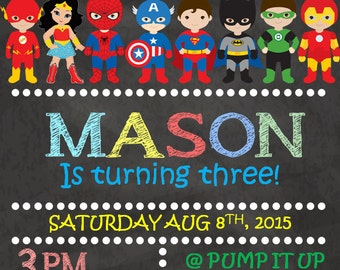 Personalized Superhero Birthday Invite *Digital*