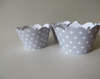 Grey Polka Dot cupcake wrapper - available in any color you desire