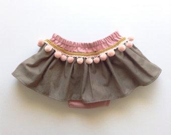 Boho Toddler Skirt, Bohemian Baby Skirt, Pink Pom Poms, Baby Girl Clothing, Boho Photo Prop