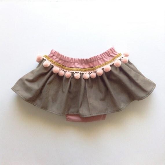 Boho Toddler Skirt Bohemian Baby Skirt Pink Pom Poms Baby