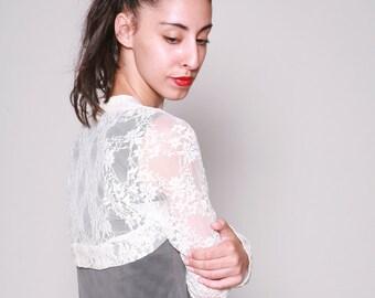 Cream lace Shrug, Wedding shrug, Bridal Shrug, Long Sleeve Bolero Shrug,  Accessories By Dragonflyhm