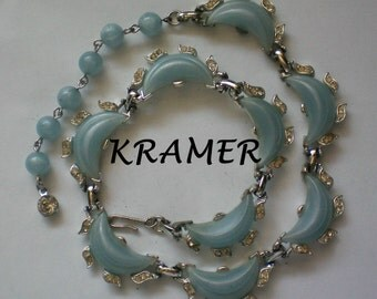 Signed Kramer Baby Blue Thermoset Necklace - 3973