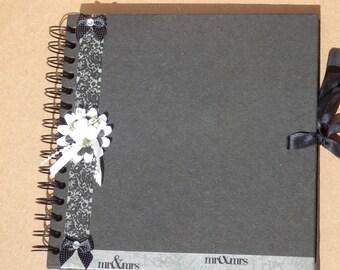 Wedding guest book. Woodland Wedding guest book. Black & white wedding guest book. Rustic wedding guestbook