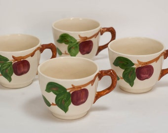 Franciscan Cups Apple Pattern Set of 4 Made In USA