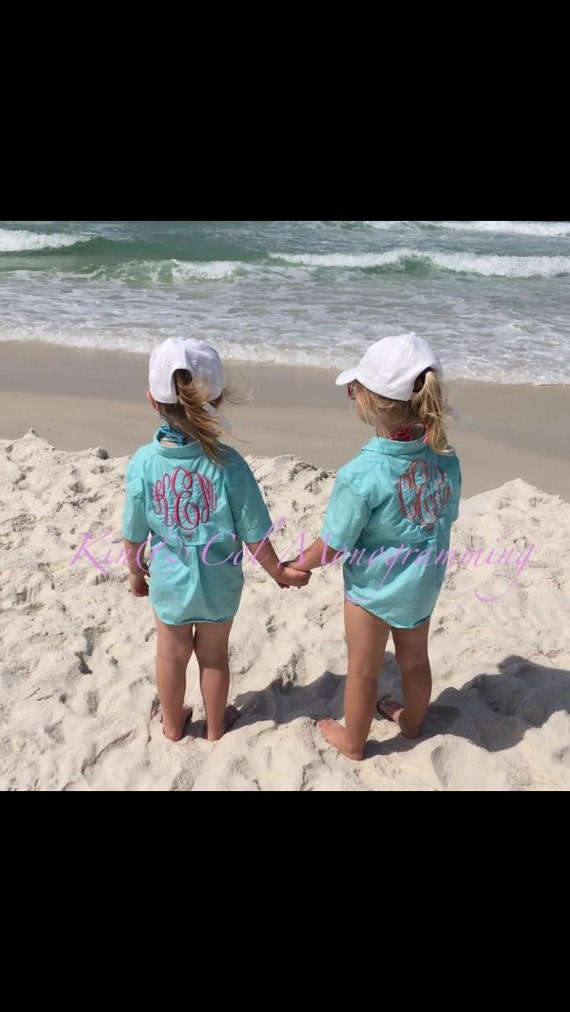 Toddler and youth monogrammed columbia fishing shirts by for Baby fishing shirts columbia