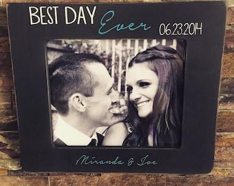 Best Day Ever Wedding Distressed Frame