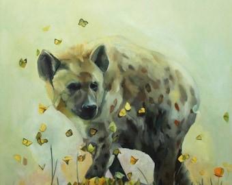 "Fine Art Print of ""Hyena and Flamingo"""