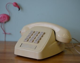 Vintage telephone Mid century Retro Classic latte Phone Dial  push button