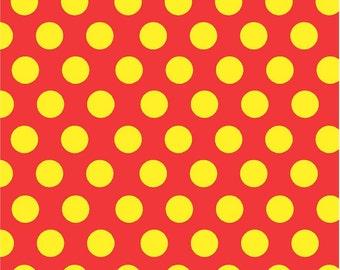 Red with yellow polka dots craft  vinyl sheet - HTV or Adhesive Vinyl -  large polka dot pattern HTV755