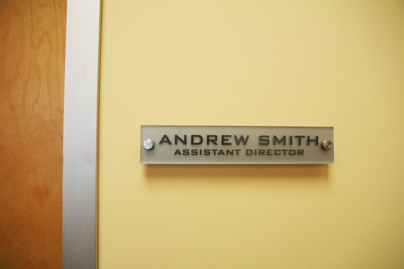 Office Name Plates: Personalized Office Wall Name Plate Sign. Modern Stainless
