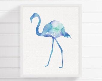 Blue Flamingo Painting, Flamingo Art Print, Watercolor Flamingo, Flamingo Poster, Kids Room Decor, Baby Girl Nursery, Baby Boy Nursery