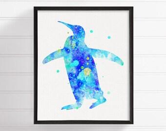 Blue Penguin Painting, Penguin Art Print, Penguin Poster, Watercolor Penguin, Nursery Wall Decor, Kids Room Decor, Boys Room Decor