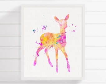 Fawn Art Print, Fawn Painting, Watercolor Fawn, Baby Deer, Nursery Wall Decor, Baby Girl Nursery, Woodland Nursery Decor, Girls Room Decor