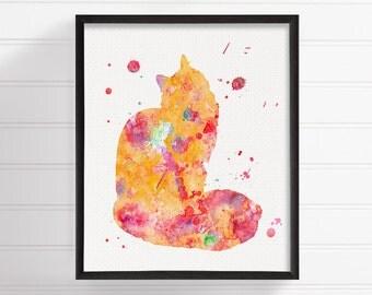 Cat Art Print, Cat Poster, Maine Coon Art Print, Cat Painting, Watercolor Maine Coon, Cat Wall Decor, Cat Silhouette, Watercolor Cat