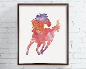 Horse Art Print, Horse Poster, Horse Wall Decor, Horse Wall Art, Horse Silhouette, Watercolor Horse, Equestrian Decor, Nursery Wall Decor