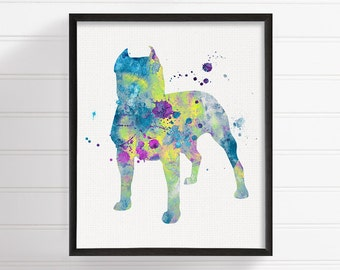 Pit Bull Watercolor, Pit Bull Art, Pit Bull Print, Pit Bull Wall Art, Pit Bull Painting, Dog Wall Art, Dog Lover Gift, Watercolor Dog Art
