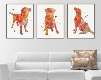 Labrador Watercolor Art Print, Labrador Painting, Set of 3 Prints, Labrador Wall Art, Labrador Wall Decor, Dog Lover Gift, Labrador Poster