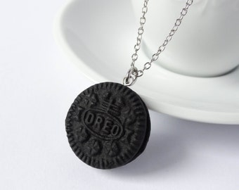 Oreo necklace cookie charm pendant polymer clay
