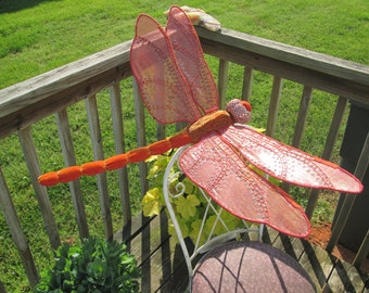Dragonfly Art - Wall Hanging - Home Decor - Housewarming Gift - Wedding Gift - Birthday Gift - Orange Flame Skimmer