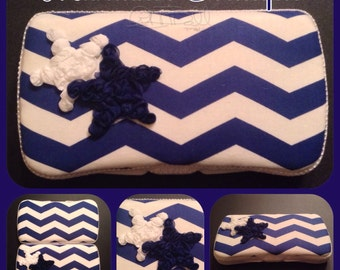 Handemade travel wipe case - boys wipe case - travel wipe case - chevron blue wipe case