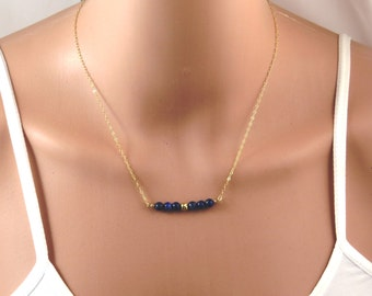 Lapis Lazuli Necklace, gold lapis necklace, blue lapis necklace, blue stone necklace, gold necklace, lapis lazuli pendant