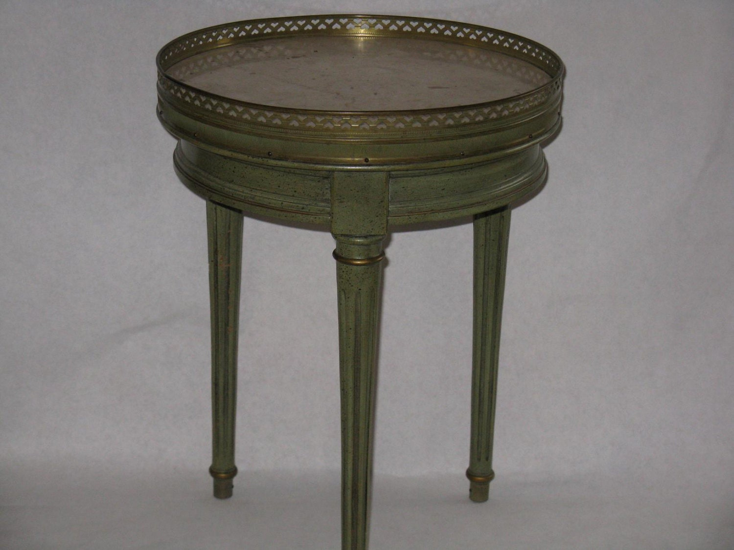 Vintage Brandt Accent Table Green Wood Marble Top Brass Accent