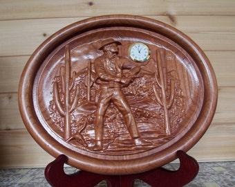 Wood Wall Clock ~ Cowboy Wall Clock ~ 3D Wood Carving