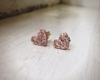 Tiny Heart Shape - Rose Gold Druzy studs -Druzy earrings -  ROSE GOLD Stud Earrings - Pink Druzy Earrings - Heart Druzy