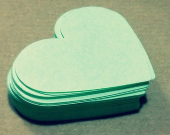 Mint Heart Die Cuts Paper Hearts Cutout Cardstock Hearts 1 2 3 4 5 6 7 8 inches 80gsm 160gsm