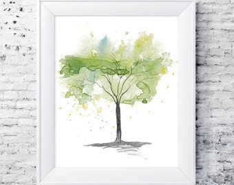 Green yellow Tree Digital Download from my original watercolour Downloadable tree Fine Art painting Green Tree Watercolour