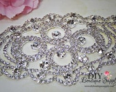Large Crystal Rhinestone applique - rhinestone Sash Applique DIY bridal sash wedding sash Crystal applique for Sash Belt  037355
