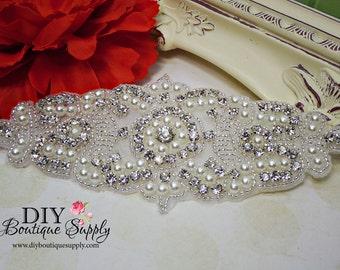 Lovely Pearl and Rhinestone applique - DIY bridal wedding garter applique - Flower girl rhinestone Headband Applique  Pearl applique  946355