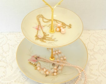 Dessert Stand, 2 Tier Vintage Stand, Jewelry Holder, Candy Stand, Cookie Tray, Vintage China – Camelot American Rose Japan