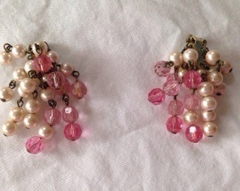 Vintage signed Marvella beaded earrings, faux pearl and pink glass beads, clip earrings