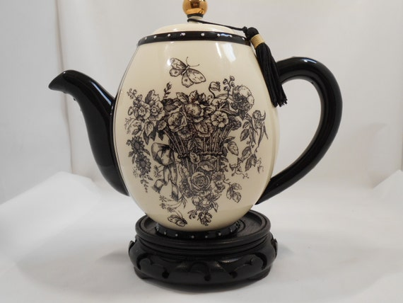 Vintage Mud Pie Teapot Black And White Tea Pot Porcelain