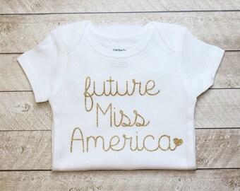 Future Miss America Gold Glitter Bodysuit