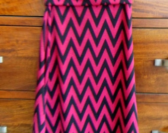 Girl's XSmall pink and black chevron maxi skirt