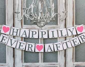 Wedding Signs-HAPPILY EVER AFTER Banner-Wedding Decorations- Sweetheart table rustic signs
