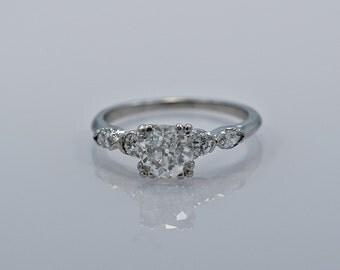 Platinum & 1.05ct. Diamond Art Deco Engagement Ring - J35082