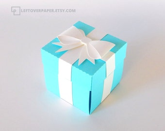 Blue Favor Box with Bow  / Blue Exploding Box / Blue Gift Box