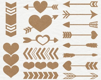 Digital Kraft Paper Heart and Arrow Shapes - Cardboard Heart Clip Art - Brown Kraft Paper Valentine Border Graphics - Rustic Wedding Clipart