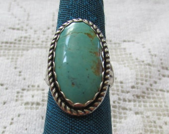 Vintage  Navajo style Native American Indian sterling turquoise ring size 5 1/2 Bell Trading Post ?