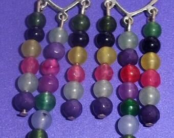 Agate Earrings Chandelier Earrings Gemstone Earrings Beaded Earrings Multicolor Earrings Brazilian Earrings Statement Earrings