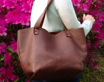 Handmade Leather Tote Bag - Large