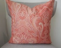 Coral and Cream,18x18,  Elegant Pillow Cover in a Contemporary Design