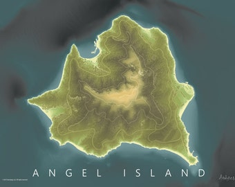 Angel Island Map Art | Measurement Map | LiDAR and Sonar Map | San Francisco Bay Map