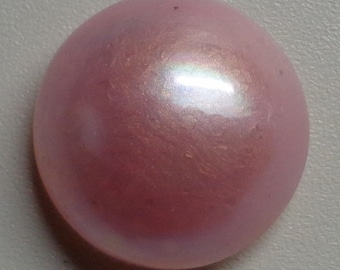 Lotus Pink Mabe Pearl Cabochon - 15mm to 16mm round  backed with Mother of Pearl - High Grade