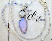 Amulet talisman artisan soldered pendant necklace opalescent crystal Bohemian feminine charm by Esther & Ellen