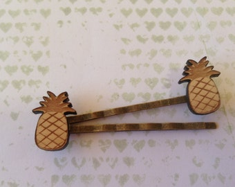 Wooden Pineapple Hair slide - 1x pair of maple wood hair clips  with pine apple - 12mm pineapple on antique bronze look hair pins